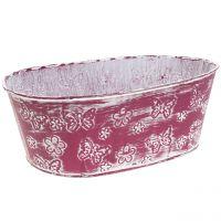 Zinkschale Oval mit Schmetterlingen Pink 25cm H9cm