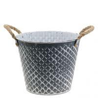 Zinktopf Raute mit Seilgriffen Grau weiß gewaschen Ø21cm H19cm