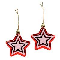 Plastik Stern zum Hängen 8,5cm Rot, Weiß 2St