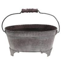 Schale Zink oval 20,5cm x 15cm Lila gewaschen