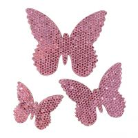 Streudeko Schmetterling Pink-Glitter  5/4/3cm 24St