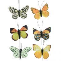 Schmetterling am Draht Natur 6-8cm 12St