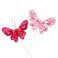 Schmetterling 9,5cm Pink 12St
