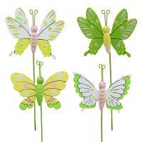 Schmetterling am Stab Holz Bunt 7,5cm L25cm 12St