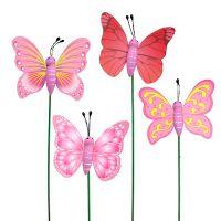Schmetterling Stecker Rosa 7,5cm 16St