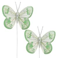 Schmetterlinge 7,5cm Grün, Grau mit Glimmer 4St
