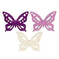 Schmetterlinge aus Holz 4cm Lila, Weiß 72St