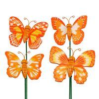 Schmetterlinge am Stab oange 7cm L25cm 24St