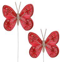 Schmetterlinge 7cm Rot, Glimmer 4St