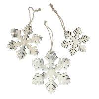 Schneeflocken aus Holz weiß-grau sort. 7-12cm 6St