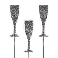 Sektglas mit Glitter Silber 8cm L28cm 24St