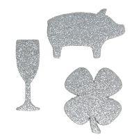 Silvesterdeko Mix Silber mit Glimmer 4cm - 5cm 24St