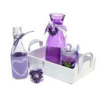Sommerdeko Holztablett mit Glas Violett, Weiß