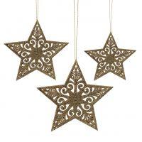 Stern Gold zum Hängen 8cm - 12cm 9St