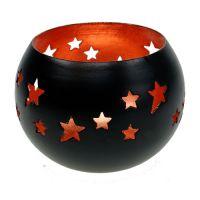 Teelicht mit Sternenmuster Ø10cm Schwarz, Kupfer
