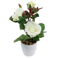 Tischdeko Rose im Topf weiß 23cm