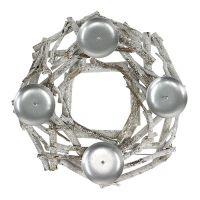 Tischkranz mit Kerzenhalter Ø32cm geweißt
