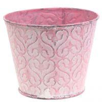 Pflanztopf verzinkt Rosa, Weiß gewaschen Ø13cm H10,5cm