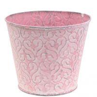 Pflanztopf verzinkt Rosa, Weiß gewaschen Ø14,5cm H12,5cm