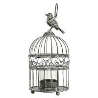 Vogelkäfig mit Teelichtglas Ø10,5cm H21cm Grau