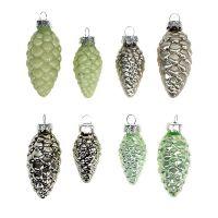 Weihnachtsbaumschmuck Zapfen 5-6cm grün-silber sort. 16St
