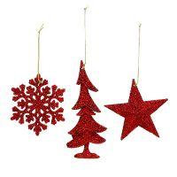 Weihnachtshänger Mix mit Glitter Rot 3St
