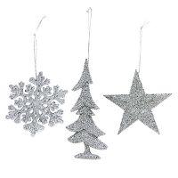 Weihnachtshänger Mix mit Glitter Silber 3St