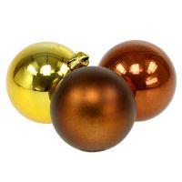 Weihnachtskugel Plastik 6cm Braun, Gold 20St