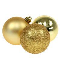 Weihnachtskugel Kunststoff Gold 6cm 10St