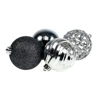 Weihnachtskugel Plastik Ø8cm sort. 8St