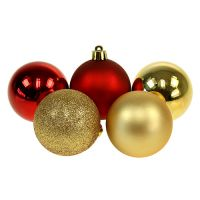 Weihnachtskugeln Gold, Rot Mix Kunststoff Ø6cm 30St
