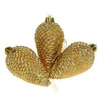 Zapfen Plastik Hellgold 8cm 6St. zum Hängen