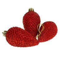 Christbaumschmuck Zapfen rot 9cm 6St