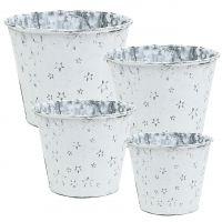 Zinktopf mit Sternmuster Weiß gewaschen