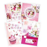 """Geburtstagskarte """"Happy Birthday"""" 4St"""