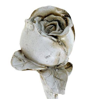 Deko-Rose Grau 12cm 6St