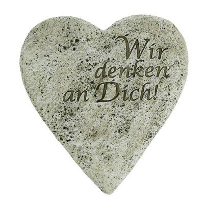 Deko Herz 20cm Grau mit Text 2St