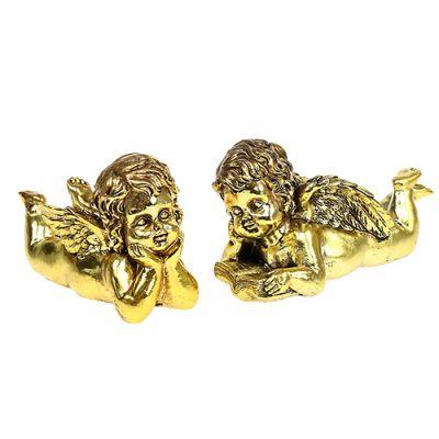 Engel mit Buch liegend Gold 11-13cm 4St