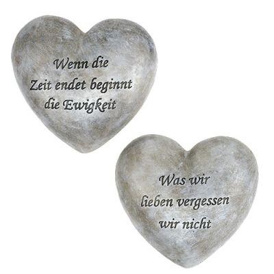 Grabschmuck Herz mit Spruch 15cm 2St