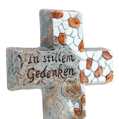 Keramikkreuz mit Gedenktext 13cm 4St