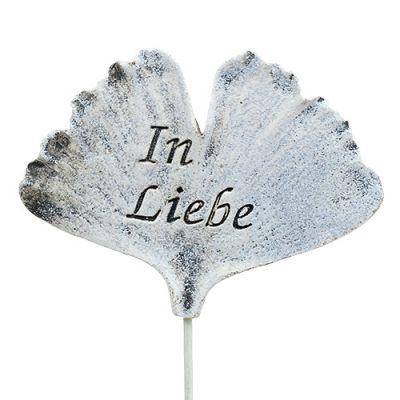 Stecker Ginkgoblatt mit Spruch Grau 8cm 12St