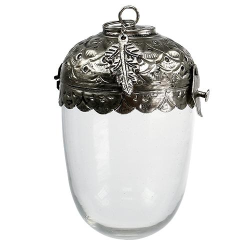 deko eichel glas zum h ngen silber 7 5cm h13cm gro handel und lagerverkauf. Black Bedroom Furniture Sets. Home Design Ideas