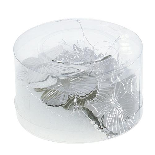 deko schmetterlinge zum h ngen silber 5cm 36st gro handel und lagerverkauf. Black Bedroom Furniture Sets. Home Design Ideas