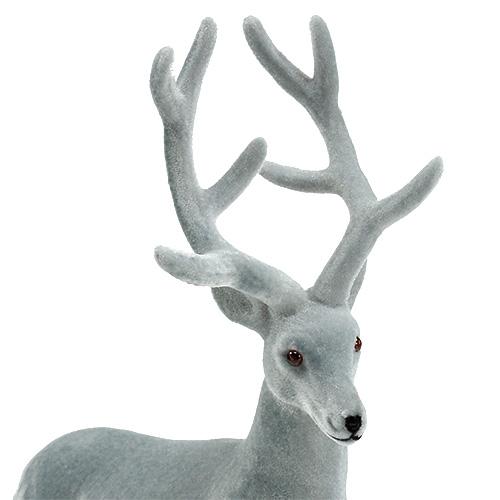 deko hirsch beflockt grau h30cm b25cm gro handel und lagerverkauf. Black Bedroom Furniture Sets. Home Design Ideas