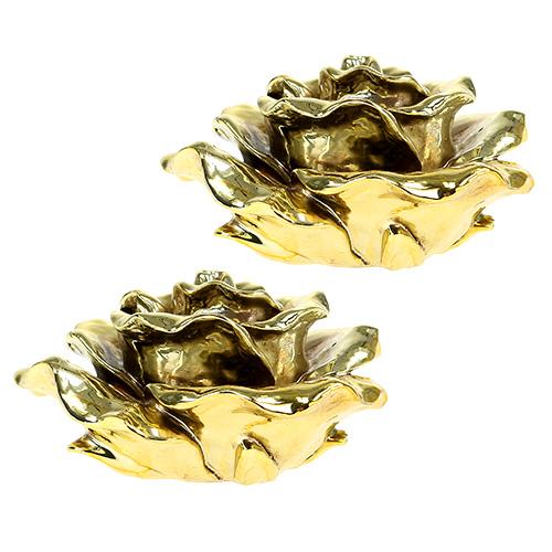 deko rose 12cm gold gl nzend 4st gro handel und. Black Bedroom Furniture Sets. Home Design Ideas