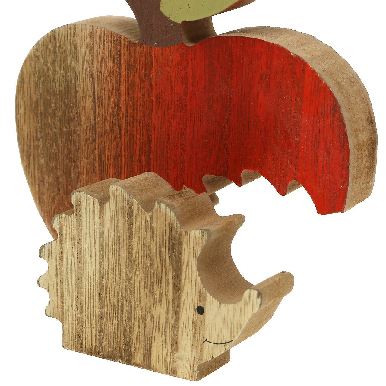dekofigur apfel mit igel rot natur 13cm 3st großhandel
