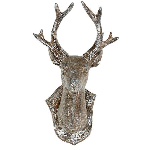 Hirschkopf 19cm x 11cm braun mit silber gro handel und lagerverkauf - Wandschmuck silber ...