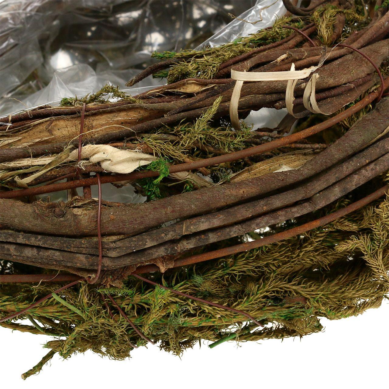 Pflanzgefäß aus Reben und Moos 35cm x 20cm