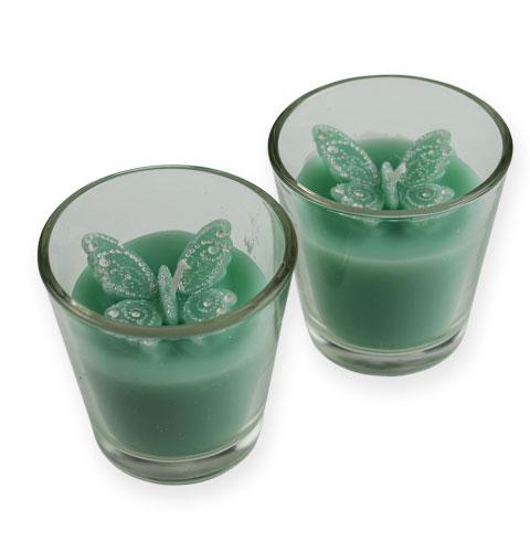 Deko Teelichter Im Glas Mit Schmetterling 2st Gro Handel