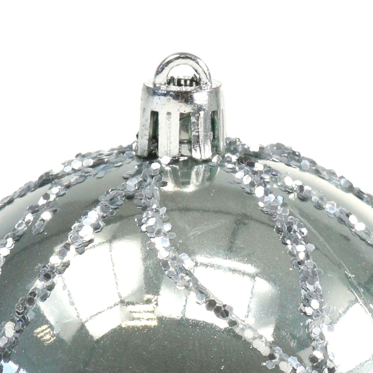 Weihnachtskugel Plastik Silber Ø8cm 2St